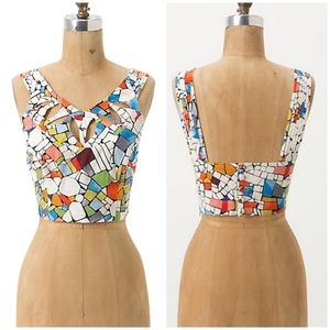 ANTHROPOLOGIE rare leadlight mosaic crop top